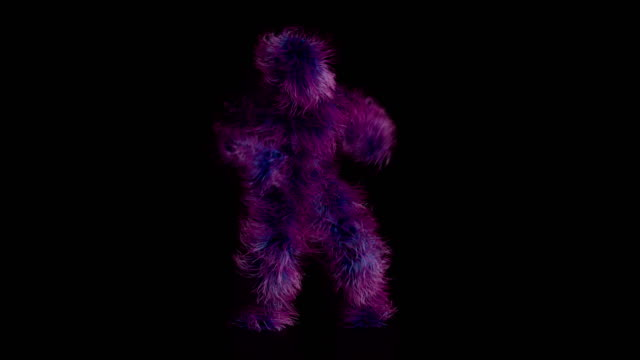 realistisk animation av ett roligt, håriga monster fira en seger. - päls textil bildbanksvideor och videomaterial från bakom kulisserna