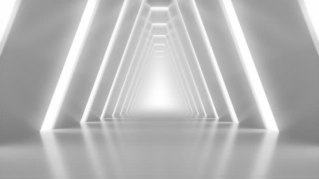 vídeos y material grabado en eventos de stock de estudio de arquitectura brillante realista con la cámara avanzando. caminar lentamente en el espacio limpio y vacío. interior creativo futurista. animación de bucle 3d. - blanco color