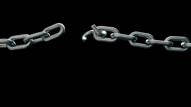 Realistic broken chain animation with alpha channel or matte