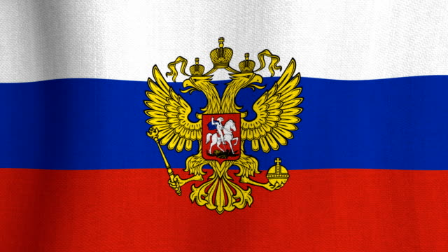 Realistic cotton flag of Russia with coat of arms as a background video