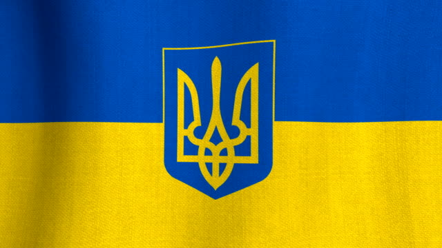 Realistic cotton flag of Ukraine with coat of arms as a background video