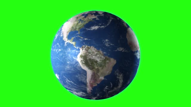 Realistic Earth Rotating, 4K. Perfect for your own background using green screen. High detailed texture