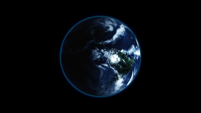 Realistic Earth Rotating on black background Loop . Globe is centered in frame, with correct rotation in seamless loop video