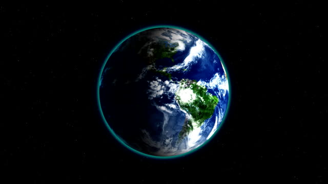 Realistic Earth Rotating on black space background with stars Loop . Globe is centered in frame, with correct rotation in seamless loop video