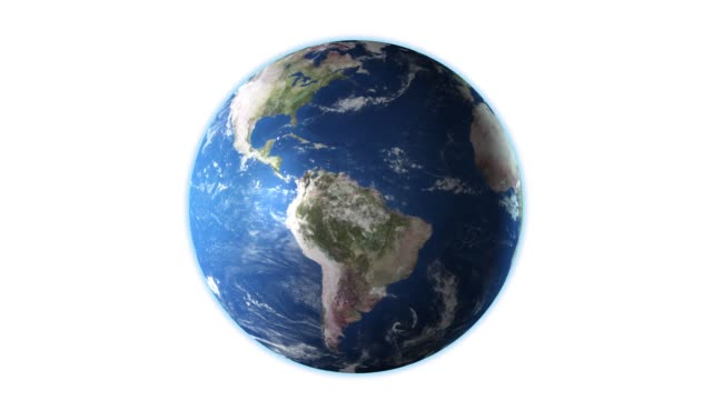 Realistic Earth Rotating on White Screen, 4K. High detailed texture Realistic Earth Rotating on White Screen, 4K. High detailed texture. globe navigational equipment stock videos & royalty-free footage