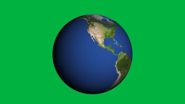 vídeos de stock e filmes b-roll de hd realistic earth rotating (loop on green screen). perfect for your own background using green screen - green world