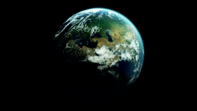 Realistic earth with moving clouds - loopable video