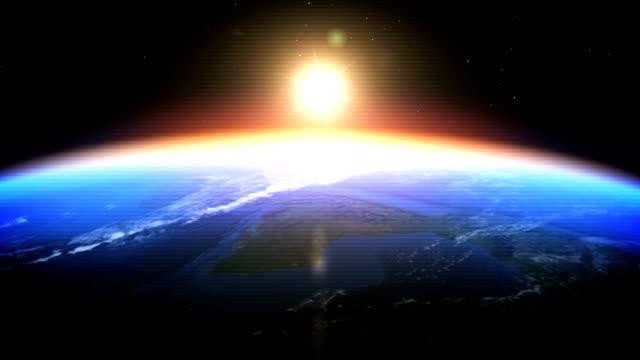 realistic earth -日の出から見たスペース(デジタルグリッチ) - 地球のビデオ点の映像素材/bロール