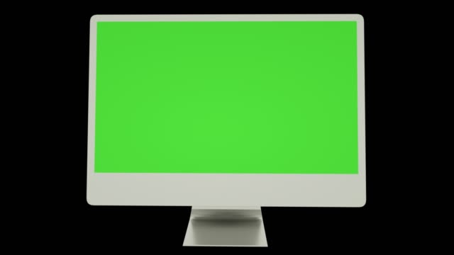 Realistic Empty computer display with green screen. Alpha channel included