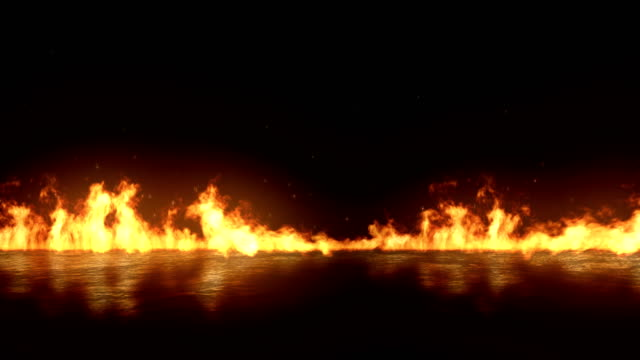 realistic fire flames burn with ash rise movement frame on black background, with alpha channel - motivo ripetuto video stock e b–roll