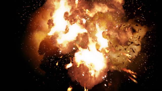 Gerçekçi ateş topu patlama ve patlama luma kanal ile. video