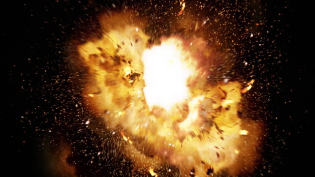 Realistic fireball explosion and blasts with luma channel. video