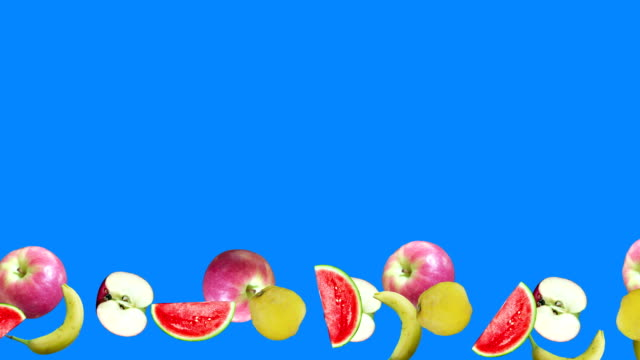Realistic fruits animation on blue screen editable chroma key background, seamless loop video