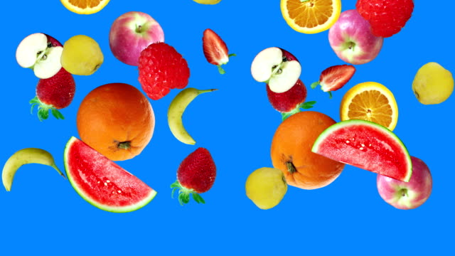 Realistic fruits animation on blue screen editable chroma key background video