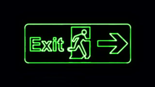 Realistic Green Neon Exit Sign in Neon Style Turning On video