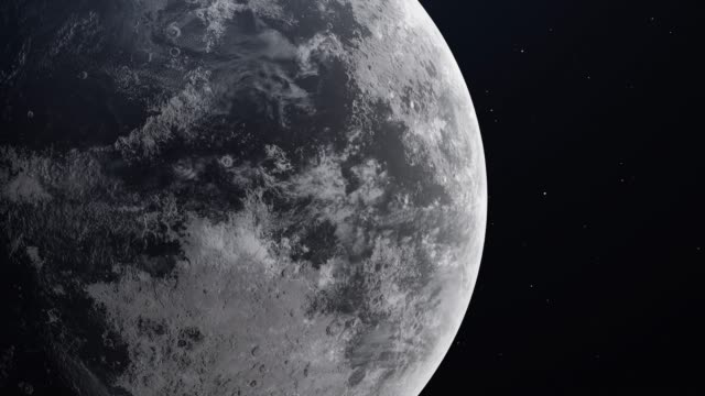 realistic moon in the outer space. high detailed texture. 3d render. 4k - mitologia video stock e b–roll