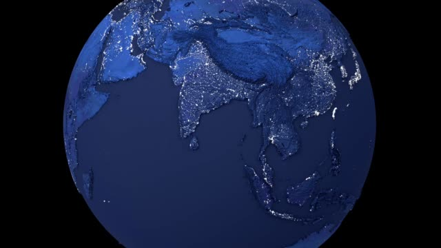 Realistic night rotating Earth planet isolated on black background. Spinning dark 3d earth globe seamless looping animation. Realistic night rotating Earth planet isolated on black background. Spinning dark 3d earth globe seamless looping animation. America, europe, africa, asia, australia on world map. oceania stock videos & royalty-free footage
