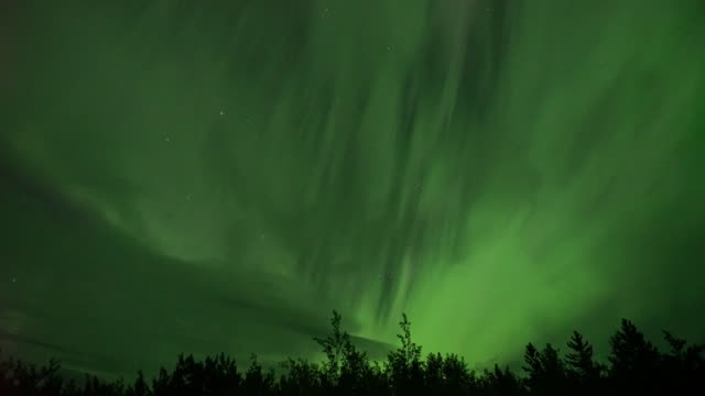 realistic real time (4x speed) aurora borealis (northern lights) in whitehorse, canada - aurora boreale video stock e b–roll