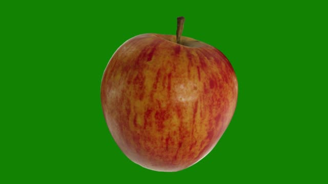 Realistic render of a rotating Fuji apple on green background. The video is seamlessly looping