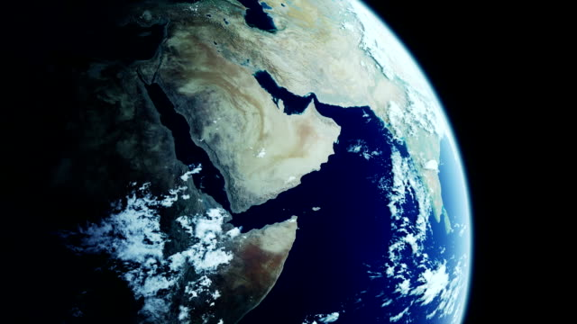 Realistic rotating earth closeup - LOOPING video