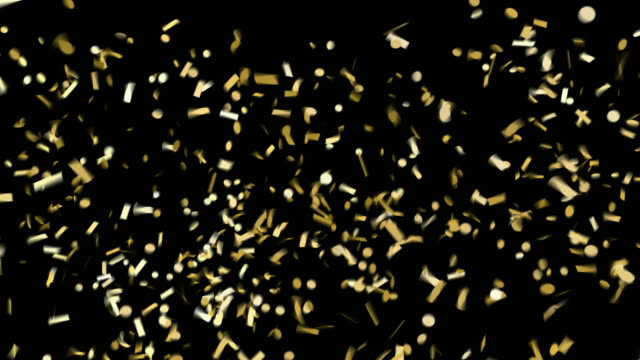 realistic selebration gold confetti falling down. green screen animation footage. - trasparente video stock e b–roll