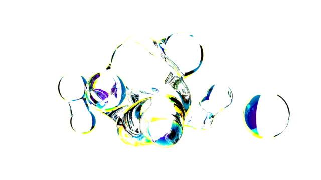 vídeos de stock, filmes e b-roll de bolhas de sabão realistas água em 4k branco - tag