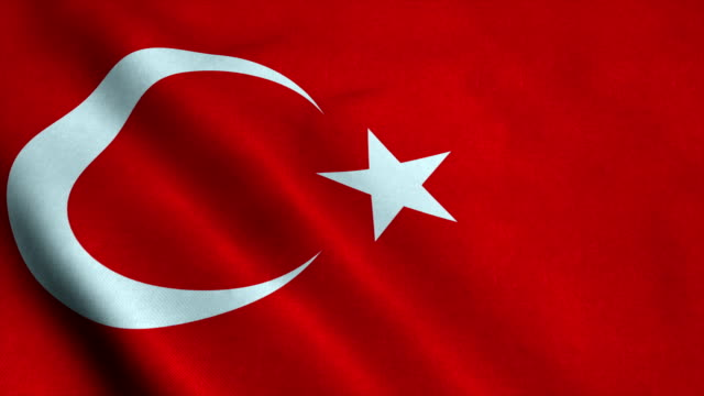 Realistic Ultra-HD flag of the Turkey waving in the wind. Seamless loop with highly detailed fabric texture video