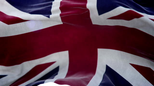 Realistic United Kingdom Flag 3d animation loop video