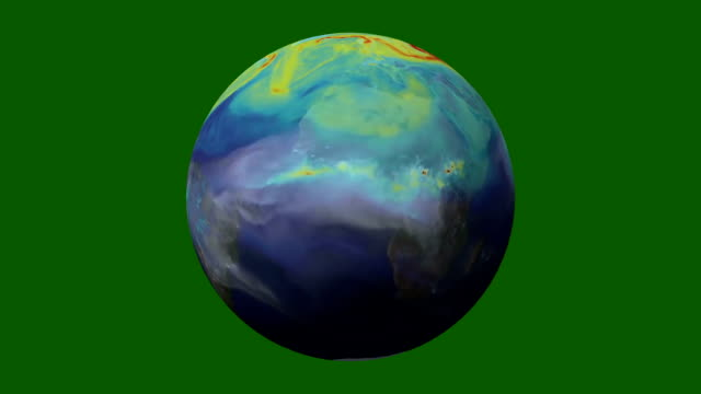 Realistic View of the Earth in Time Lapse Rotate and Loop on a Green Screen Backdrop video