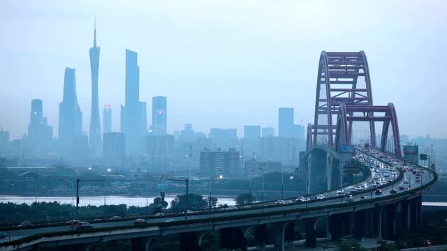 広州のスカイラインのリアルタイム クリップ - 中国 広州市点の映像素材/bロール