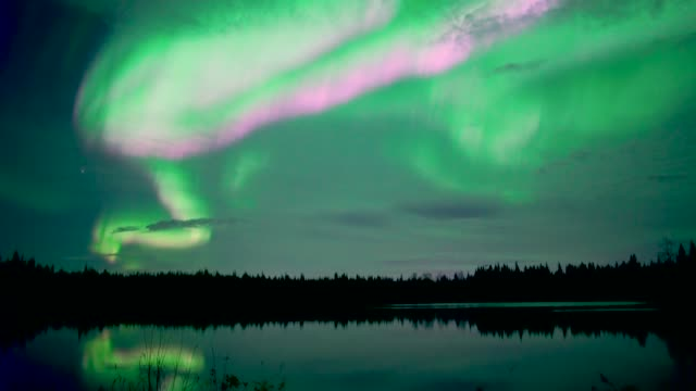 4k real-time: northern lights aurora borealis over lake in north pole alaska - stock video - aurora boreale video stock e b–roll