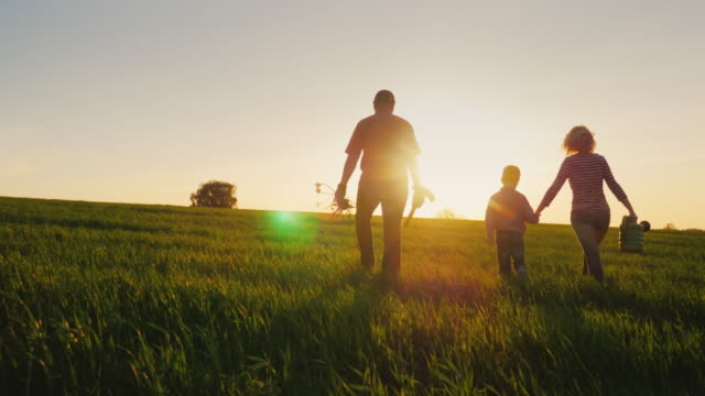 Rear view: A friendly family with a young son is going to plant a tree. Carry a seedling, shovel and watering can. Silhouettes in a beautiful field on a sunset background - vídeo