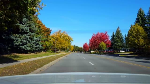日中道路を走行する車の後ろからのリアビュー。 車の視点povは、車両明るい昼間の空の後ろに。 - 後方点の映像素材/bロール