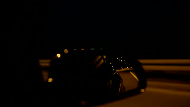 Rear View Mirror Look into the car's Rear view mirror while driving at night rear view mirror stock videos & royalty-free footage
