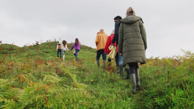 Rear view of active multi-generation family walking up autumn hillside - shot in slow motion Rear View Of Active Multi-Generation Family On Autumn Walk Through Countryside Climbing Hill medium group of people stock videos & royalty-free footage