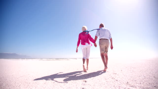 Rear view of an elderly retired couple walking together along the beach video