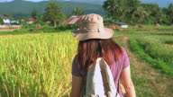 istock rear view of Asian woman walking on the ridge of paddy field under the sunset in a non-urban agriculture scene, The north of Thailand with feeling excited, positive emotion 1331597358