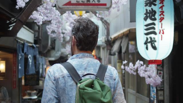 Rear View of Caucasian Tourist Walking Down Alley in Tokyo