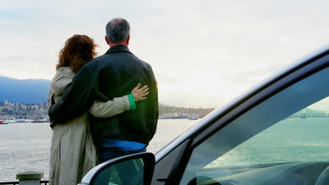 Rear view of couple interacting at seaside 4k Rear view of affectionate couple interacting at seaside 4k 50 59 years stock videos & royalty-free footage