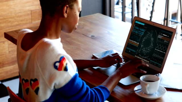 rückansicht des weiblichen vorstand arbeiten am computer am schreibtisch - reliability stock-videos und b-roll-filmmaterial