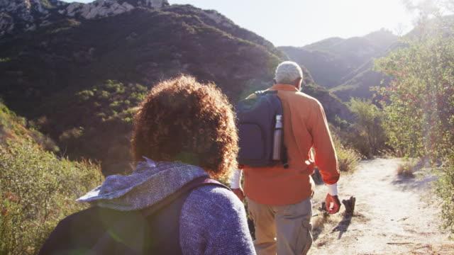 backvy av grupp av äldre vänner som vandrar längs leden på landsbygden tillsammans - aktiva pensionärer utflykt bildbanksvideor och videomaterial från bakom kulisserna