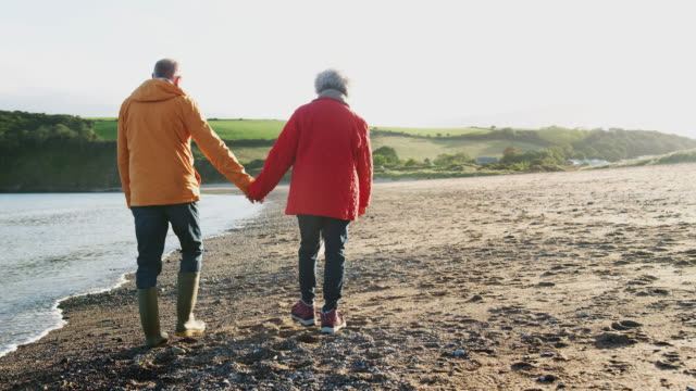 rear view of loving senior couple holding hands walking along shoreline on winter beach vacation - shot in slow motion - coppia anziana video stock e b–roll