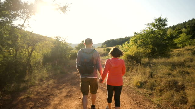 rear view of senior couple trekking on sunny autumn day - baby boomers stock videos & royalty-free footage