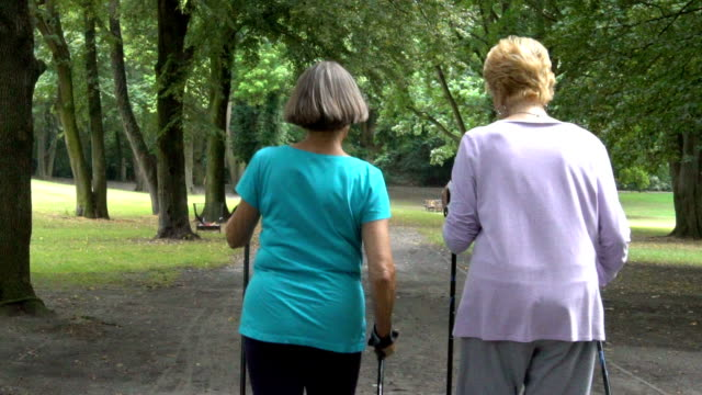 Rear view of senior women walking on dirt road video