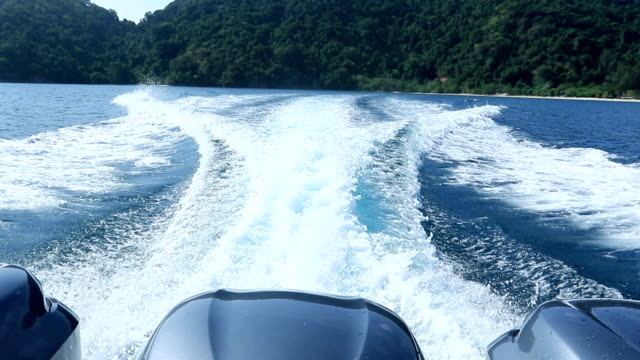 rear view of speed boat running video