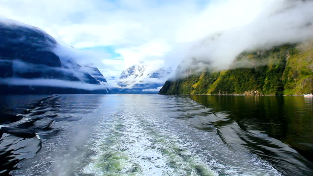 rear view of tourist boat in milford sound fjordland national park new zealand video