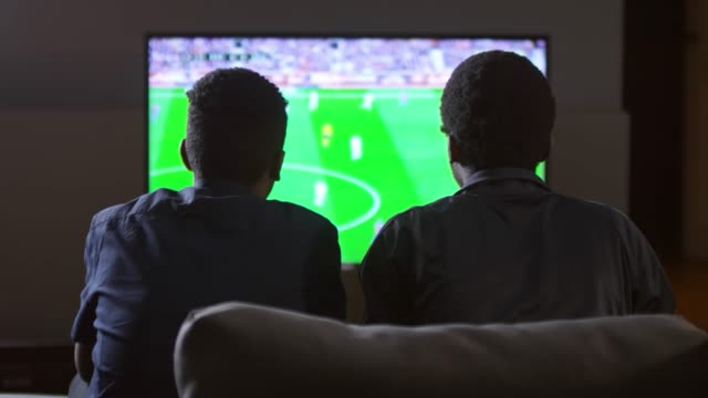 Rear View of Two Fans Watching Soccer on TV at Home video