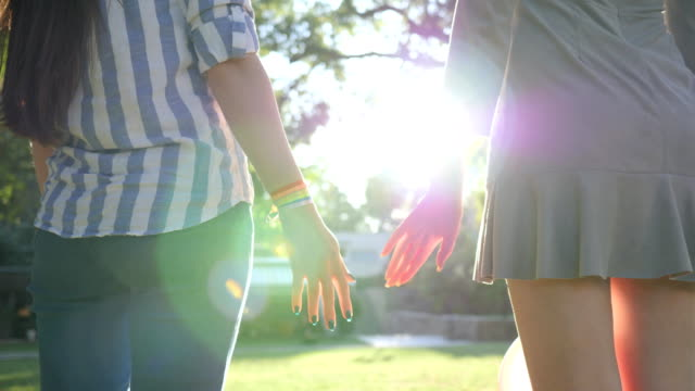 rear view of two unrecognizable girls holding hands with LGBT bracelet in backlight stand in park rear view of two unrecognizable girls holding hands with LGBT bracelet in backlight stand in park on background green trees bisexuality stock videos & royalty-free footage