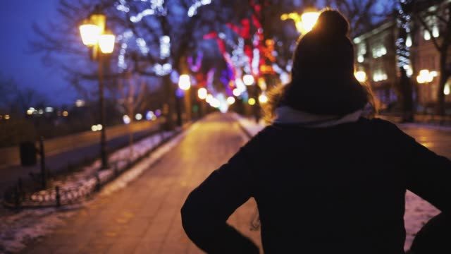 Rear view of young woman wearing warm hat and coat walking in festive illuminated Christmas park with her hands in her pockets. Rear view of young woman wearing warm hat and coat walking in festive illuminated Christmas park with her hands in her pockets. hot pockets stock videos & royalty-free footage