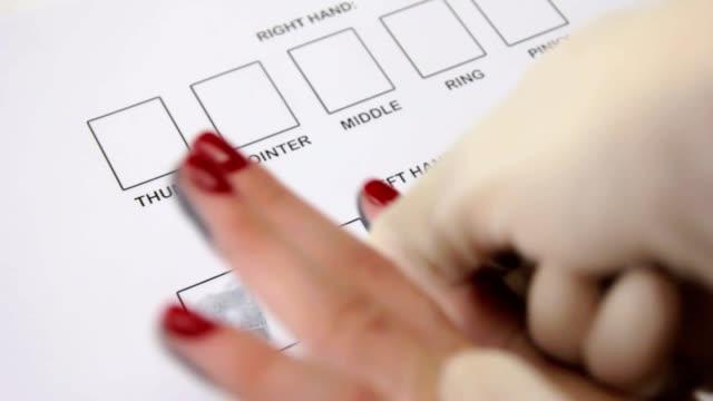 Receipt of fingerprints of women, an expert of fingerprinting gloves video